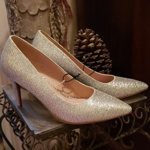 New Chinese Laundry Silver Glitter Stiletto Heels